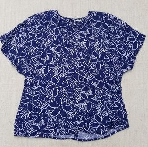 Vintage Blue Floral Rayon Tee Shirt